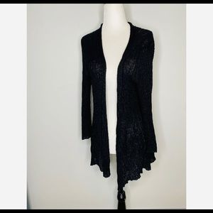 Eileen Fisher Black open cardigan 100% linen XL